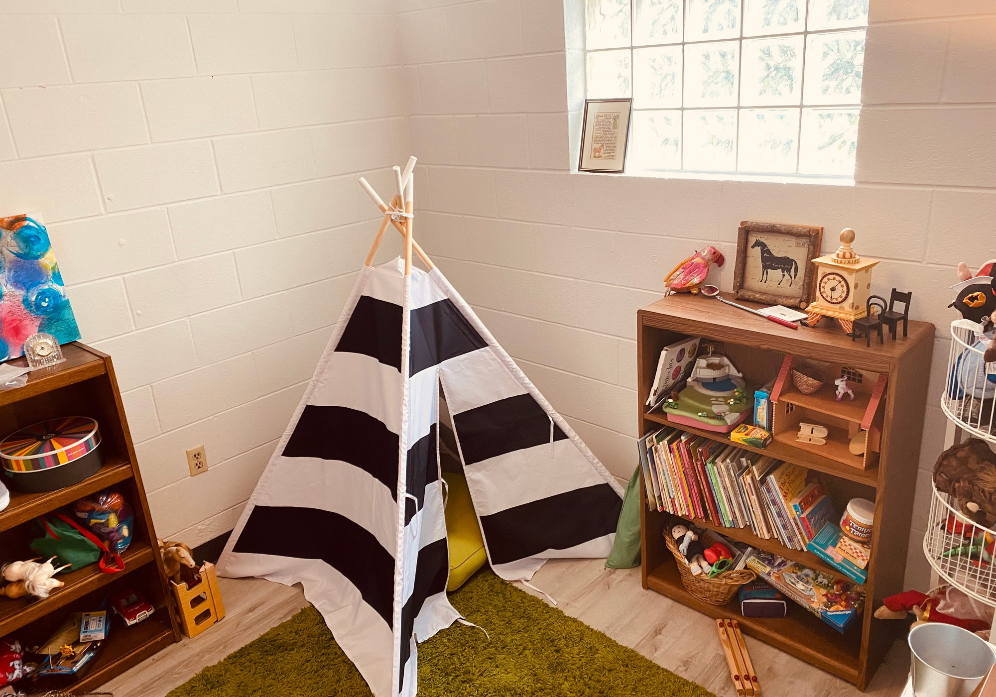 A comfortable space for play therapy.